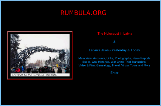 Screenshot of the Rumbula.org home page.